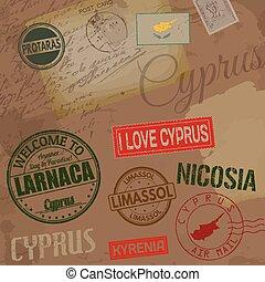 cyprus, reizen, postzegels, op, retro, achtergrond, met, oud, post, kaarten, en, brieven