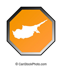 Cyprus road sign isolated on a white background.