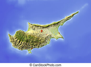 Cyprus, shaded relief map - Cyprus. Shaded relief map....
