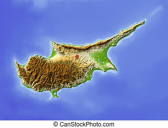 Cyprus, shaded relief map