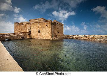 cyprus), tarde, paphos, tarde, (paphos, castillo, vista