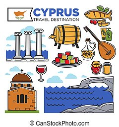 Cyprus travel destination promotional poster with national...