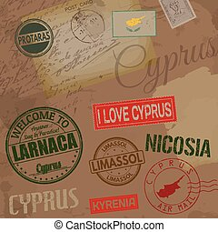 Cyprus travel stamps on retro background with old post cards and letters