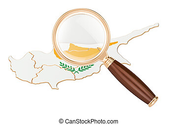 Cyprus under magnifying glass, analysis concept, 3D rendering