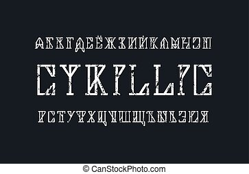 Cyrillic slab serif font in timbered house style. Letters...