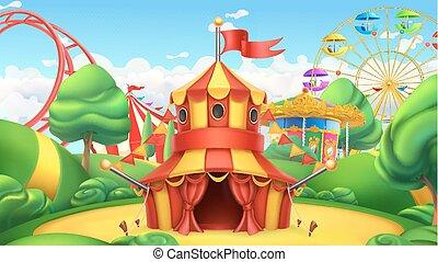 cyrk, wektor, krajobraz, tent., 3d, rozrywka, park.