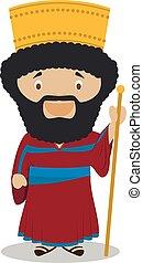 Cyrus II of Persia (The Great) cartoon character. Vector...
