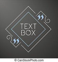 cytat, tekst, box., ułożyć, dla, ozdoba, quote., zacytować, czysty, template., zacytować, bubble., opróżniać, template., tekst, design., szkicownik, osłona, projektować