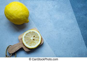 cytrus, kromka, cytryna, owoc, żółty, dojrzały