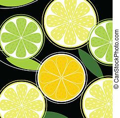 cytrusowy owoc, czarne tło, (vector)