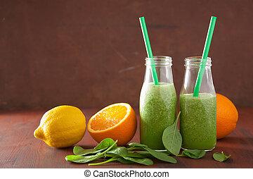 cytryna, szpinak, zdrowy, smoothie, zielony, pomarańcza