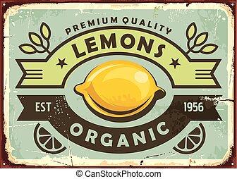 cytryny, rocznik wina, znak, organiczny, jakość, premia