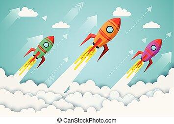czółenko, concept., sztuka, finanse, przestrzeń, wektor, twórczy, powodzenie, icon., początek, nad, handlowy, niebo, ubiegając, przelotny, goal., idea., zbiorowy, papier, do góry, ilustracja, cloud., znowu, szalupa