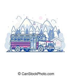 czółenko, góra, uciekanie się narty, autobus