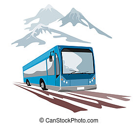 czółenko, powóz autobus, i, góry