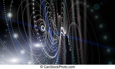 cząstka, ilustracja, światła, projektować, tło, futurystyczny