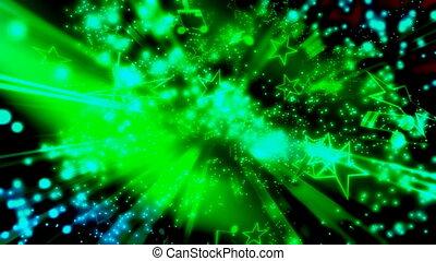 cząstki, muzyka notatnik, zielony, gwiazdy