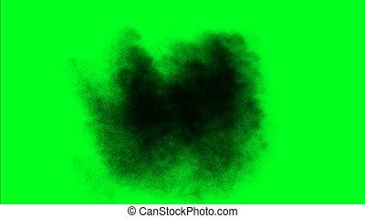 cząstki, zielony, ekran, kurz, potok