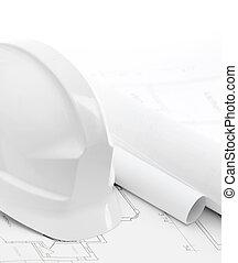 część, biały, twardy kapelusz, blisko, pracujący, rysunki