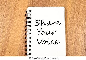 część, twój, głos, pisać, na, notatnik