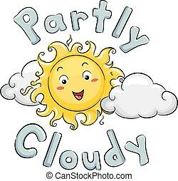 częściowo, maskotka, słońce, pochmurny, ilustracja, pogoda