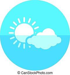 częściowo, -, pochmurny, prognoza, koło, ikona
