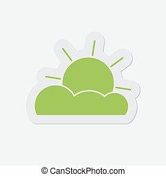 częściowo, prosty, -, pochmurny, zielony, ikona