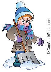 człowiek, śnieg, czyszczenie