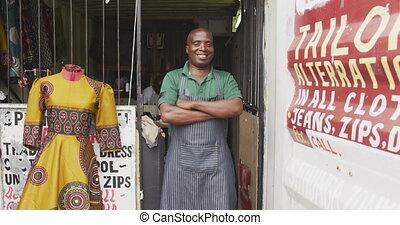 człowiek, afrykanin, uśmiechanie się, aparat fotograficzny