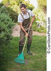 człowiek, amfiladowy, ogród, spodnie robocze