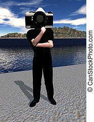 człowiek aparatu fotograficzny
