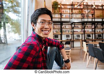 człowiek, asian, biblioteka, posiedzenie