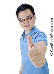 człowiek, asian, do góry, kciuki