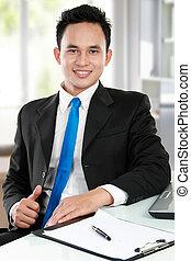 człowiek, asian handlowy, biuro, młody