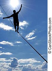 człowiek balansowy, na, przedimek określony przed rzeczownikami, związać, pojęcie, od, ryzyko biorące