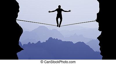 człowiek balansowy, na, przedimek określony przed rzeczownikami, związać, wyzwanie, i, ryzyko biorące, pojęcie