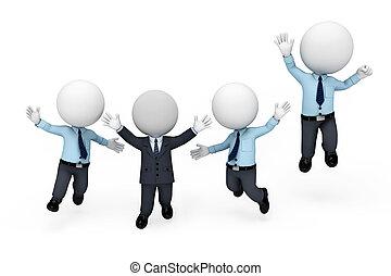 człowiek, biały, 3d, służba, ludzie
