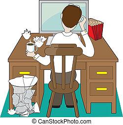 człowiek, biurko