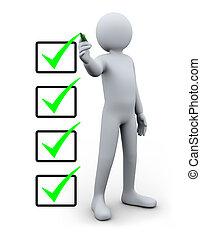 człowiek, checklist, 3d