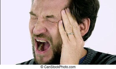 człowiek, closeup, ból głowy