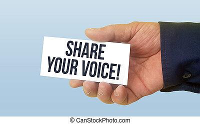 człowiek, dzierżawa, biały, handlowa karta, z, tekst, część, twój, głos