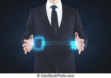 człowiek, dzierżawa, klucz, cyfrowy