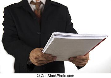 człowiek, dzierżawa, książka, handlowy
