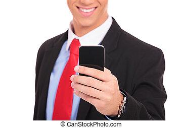 człowiek, dzierżawa, smartphone, handlowy