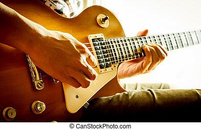 człowiek, gitara grająca, elektryczny