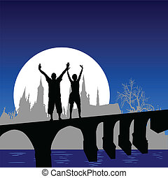 człowiek, i, dziewczyna, na, most, wektor, illus