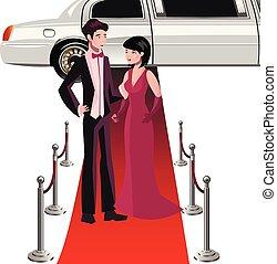 człowiek i kobieta, na, niejaki, czerwony, carpet.