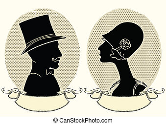 człowiek i kobieta, portraits.vector, rocznik wina,...