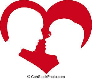 człowiek i kobieta, sylwetka, w, serce