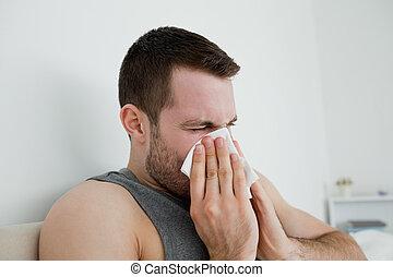 człowiek, jego, nos, podmuchowy, chory